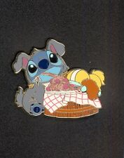 Disney Japan Costume Stitch and Scrump as Lady and the Tramp Spaghetti Scene Pin