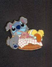 Disney Japan Costume Stitch and Scrump as Lady and the Tramp Spaghetti Scene Pin
