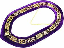 Masonic Regalia GRAND LODGE Metal Chain Collar PURPLE Backing DMR-100GP