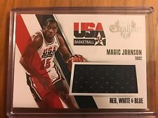 2014-15 Panini Excalibur Magic Johnson USA Red White&Blue Jersey Lakers