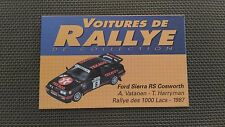 Certificat Voiture De Rallye De Collection « Ford Sierra RS Cosworth »TBE.