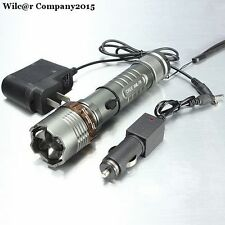 Military Grade Tactical LED Flashlight 2000LM AC+Car Charger TC1200 Style