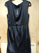 NWT THEORY Arena Black Silk Satin Dress Size 10 $320