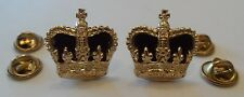 "Anodised Crowns, Velvet, 3/4"", Metal, Pips, Army, Pair, Rank Badge, Military"