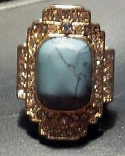 Brand New Avenue Rectangular Turquoise / Faux Diamonds Stretch Ring Free Ship
