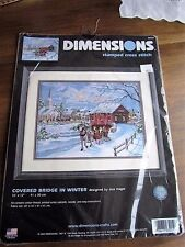Dimensions Kit Covered Bridge in Winter Vintage Frame Stamped Cross Stitch New