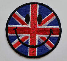 NOVELTY SMILEY FACE SEW ON / IRON ON PATCH:- GT. BRITAIN UNION JACK BRITISH FLAG