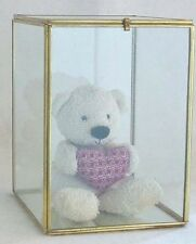 Vintage Glass and Brass CURIO CABINET BOX doll display