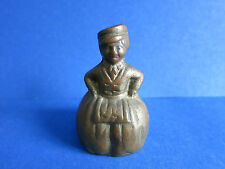 "c.1900 Antique 2.5"" Victorian Dutch Lady Woman Old BRASS Dinner Tea Bell Figural"