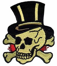 Tattoo Patch Skull with Tophat Old School traditional Retro Rockabilly
