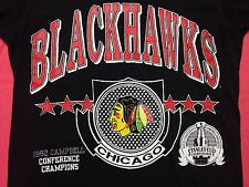 Vintage Chicago Blackhawks T Shirt Hockey 1992 Stanley Cup Rink Puck Conference