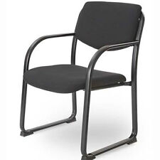 SLED GUEST/OFFICE SIDE CHAIR, Polished Metal Steel Frame With Black Finish NEW