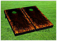 VINYL WRAPS Cornhole Boards DECALS Red Flames Black Bag Toss Game Stickers 704