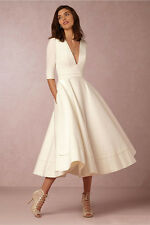 Simple Ivory Satin Tea Length Evening Dresses With Half Sleeves Evening Gowns