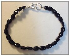 Black Tourmaline Bracelet, Genuine Natural Gemstones, Polished Ovals, can custom