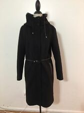 Women's MACKAGE Rydel Coat with Leather Trim, Large, Black