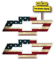 "Pair (2) Chevy Logo with USA American Flag Superimposed Decal/Sticker 4"" FLG101"