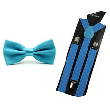 Men Classic Solid Color Pre-tied Bow Tie Elastic Y-Back Braces Suspenders Set