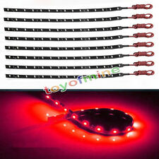 8pcs 15 SMD 12V LED 30cm Car Auto Flexible Grill Light Lamp Strip Waterproof RED
