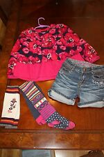CATIMINI GORGEOUS SET: NEW FUCSHIA LONGSLEEVE TOP/ DENIM SHORTS/ TIGHT 5A 5 108