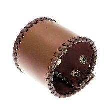 Wide Dark Brown Leather Cuff Wrap Around Gothic Wristband Bracelet