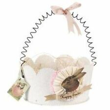 WENDY ADDISON Dresden-Style ~WHITE GLITTER BUNNY BASKET~ Retired & NWT!