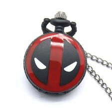 Deadpool Cosplay Anime Cartoon White Dial Necklace Chain Quartz Pocket Watch