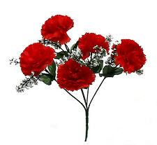 5 CARNATIONS ~ RED APPLE ~ Silk Wedding Flowers Bouquets Centerpieces Bridal NEW