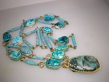 """VINTAGE EGYPTIAN REVIVAL FAIENCE GLAZED POTTERY SCARAB NECKLACE! 32"""""""