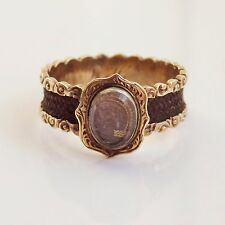 Fine Antique Victorian 18ct Gold Hairwork Glazed Mourning Ring c1860; Size 'L'