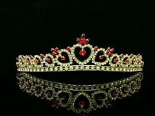 Gold Bridal Red Rhinestone Crystal Heart Wedding Prom Crown Tiara 8417