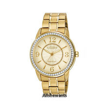 NEW CITIZEN ECO-DRIVE WATCH for WOMEN * Champagne Dial Gold Bracelet FE7002-52P