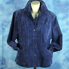 Coldwater Creek Blue Suede Leather Jacket Fully Lined Size Petite L Gorgeous