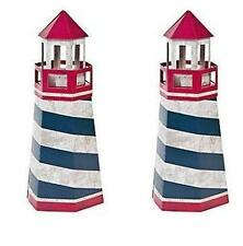 2 Rustic Lighthouse Red White Blue Nautical CENTERPIECE WEDDING Baby Beach Party
