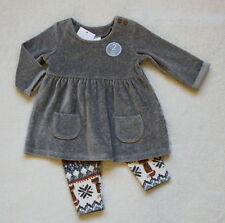 ***BNWT Next baby girl Grey Velour dress and leggings set 3-6 months***