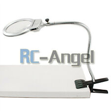 Magnifying Glass Clamp on Table Desk Lamp LED Light Magnifier Jewelry Tool Coin