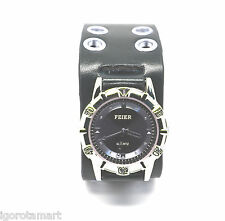 Black Real Men Faux Leather Sport Quartz Army Wrist Watch New Water Resistant