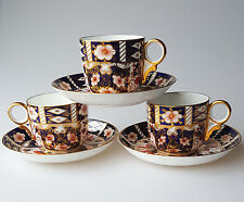 Royal Crown Derby Traditional Imari 2451 teacups saucers 3 flat cups 1930s marks