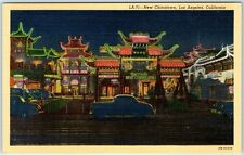 "Los Angeles CA Postcard ""NEW CHINATOWN"" Night Scene Neon Signs Linen c1940s"