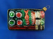 Japanese Sushi Plate Christmas Ornament Glass Blown Chopsticks Asian Food 011189