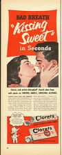 1950's Vintage ad for Cloret/Chlorophyll Gum/Art/Couple Kissing  (071913)
