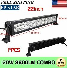 22in 120W LED Work Light Bar 12V 24V Spot Flood Combo Offroad ATV Truck Fog Lamp