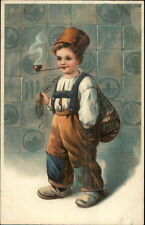 Little Dutch Boy Smoking Pipe c1910 PFB Postcard