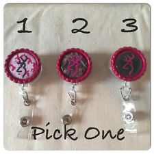 Camo Browning Hot Pink Inspired Retractable Reel ID Badge Holder Pick One