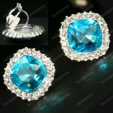 CRYSTAL CLIP ON EARRINGS topaz pale blue FACETED GLASS silver rhinestone SPARKLY