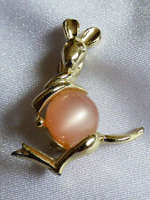 VTG Pink Pearly Thermoset Lucite Jelly Belly Kangaroo pin brooch