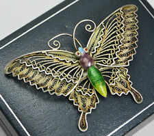 Vintage SOLID SILVER & ENAMEL Filigree Chinese Export Unusual BUTTERFLY Brooch