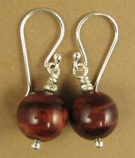 Red tiger eye earrings. Round. Natural fire. Sterling silver. Handmade.