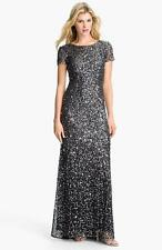 Adrianna Papell Charcoal Short Sleeve Sequin Mesh Gown-Size 12