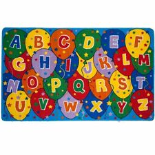 ABC Balloons Kids Area Rug 5' x 7' Children Party Carpet - Non Skid Gel Backing